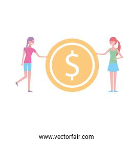 two young woman holding big dollar coin currency