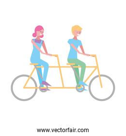 cute happy couple riding in tandem bike recreation