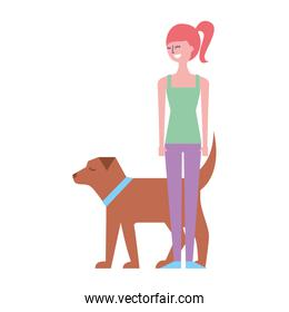 young woman walking with her dog pet