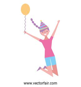 happy jumping woman with party hat holding balloon