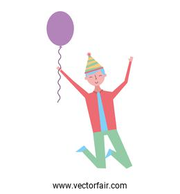 jumping young man party hat and balloon celebration