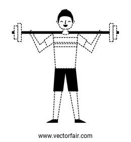 young man training lifting weight barbell