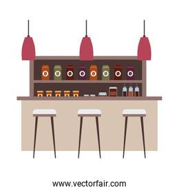 coffee shop interior products shelving counter lamps