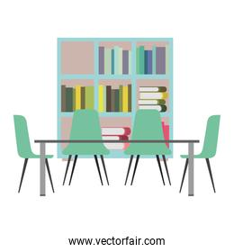 library with bookshelves and desk with chairs
