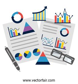 business documents report presentation statistics graphs pen and glasses