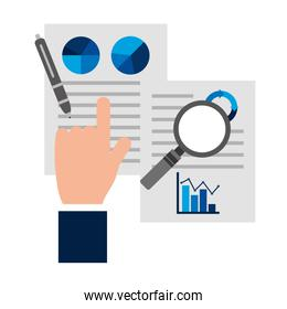 hand with paper work report analysis business