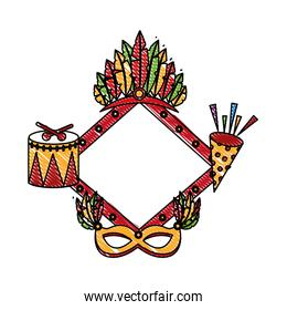diamond frame with carnival elements