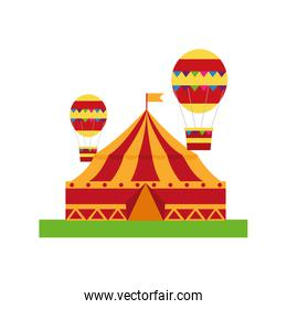 circus tent with balloons air hot flying