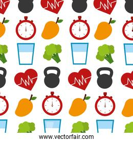 healthy lifestyle elements pattern background