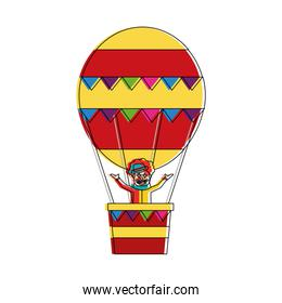 carnival circus clown flying with hot air balloon