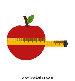 measure tape with apple fruit