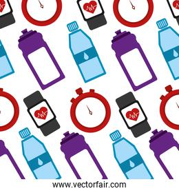 healthy lifestyle icons with sportwatch pattern