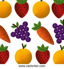vegetable and fruit healthy lifestyle pattern background