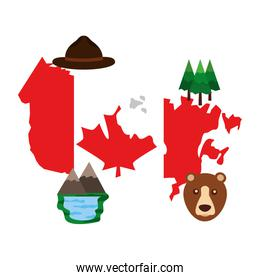 canadian map with flag and set icons