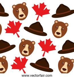 grizzly bear and maple leafs pattern background