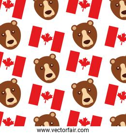 canada flag and grizzly bear pattern background