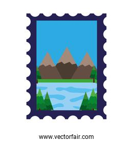 mountains and lake in postage stamp