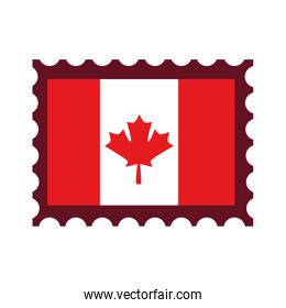 canadian flag with postage stamp