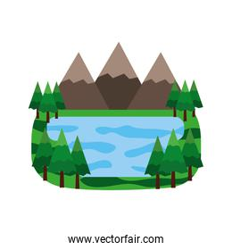 mountains and lake in forest landscape