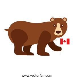 grizzly bear with canadian flag