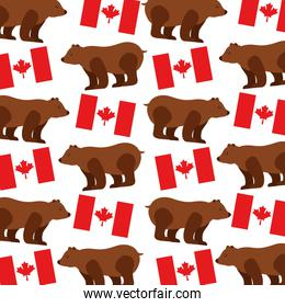 grizzly bear with canadian flag pattern
