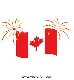 canadian flag with fireworks