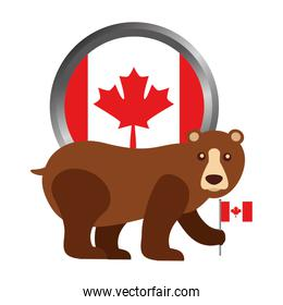 grizzly bear with canadian flag button