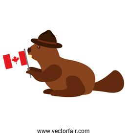 beaver with hat and flag canadian