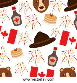 canadian flag and bear with hat pattern