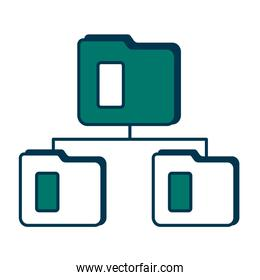 network folders isolated icons