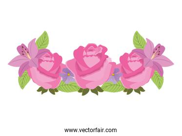 roses floral decoration icon