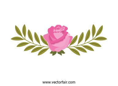rose with leafs wreath