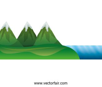 mountains with waterfall and snow scene