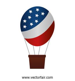balloon air hot flying with USA flag