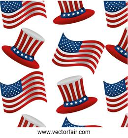 united states of america hats and flags pattern