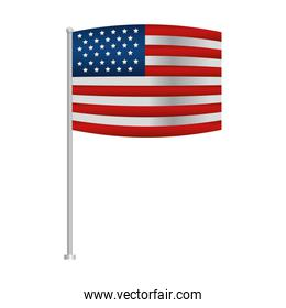 isolated united states of america flag in pole