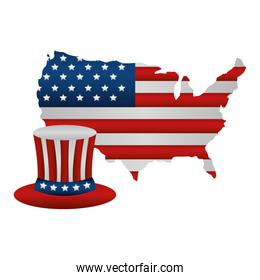 united states of america map with flag and hat