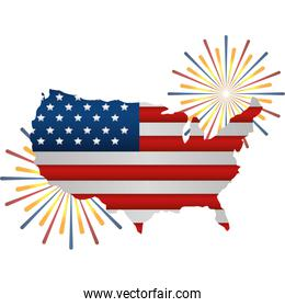 united states of america map with flag and fireworks