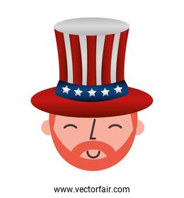 man with united states of america hat