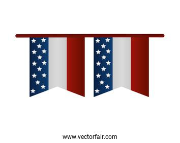 united states of america garlands over white
