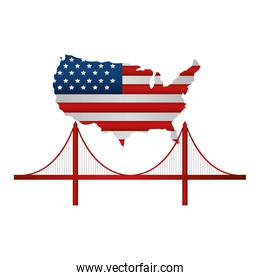 united states of america map with flag and san francisc bridge