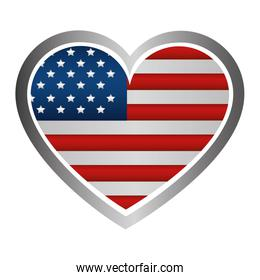 united states of america emblem with heart shape