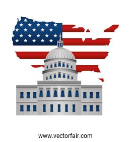 united states of america map with flag and the withe house