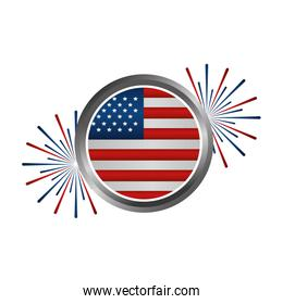 united states of america emblem with fireworks