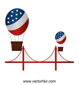 balloons air hot flying with USA flag and bridge