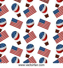 united states of america flags and balloons air hot pattern