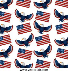 united states of america flags and eagle flying pattern