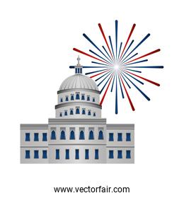american parliament building with fireworks