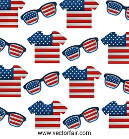 shirts of united states of america flag with glasses