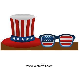 united states of america hat and glasses